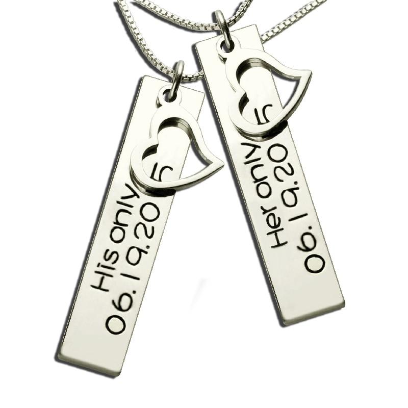 Gros estampillé à la main son & son Bar collier argent personnalisé Couples colliers Vertical Date collier saint valentin cadeau