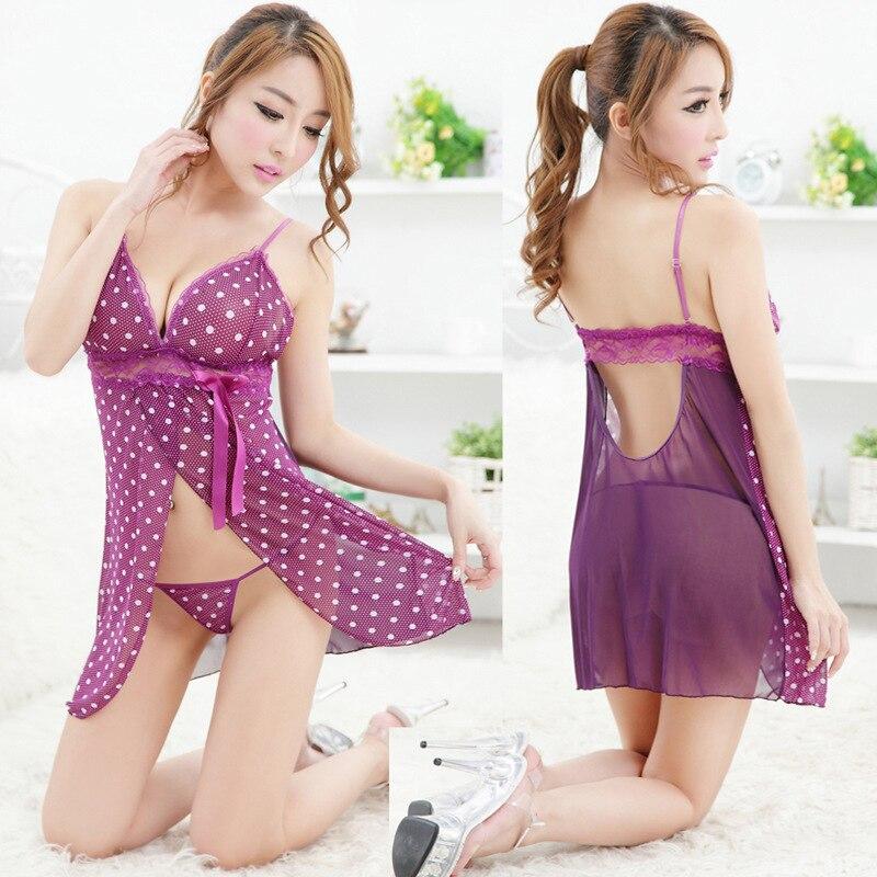 Sexy Open Babydoll Lingerie Erotic Hot Sex Costume Polka Dot Lace Short Mini Sleepwear Nightwear Exotic Apparel