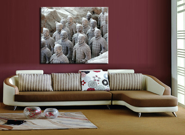 Free shipping 1Pieces Canvas Paintings Printed Terracotta Warriors ...