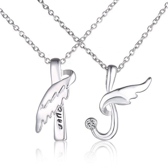 Angel couples engraving pendants with angel wings pendant letter angel couples engraving pendants with angel wings pendant letter engraved necklace silver necklace jewelry valentines day mozeypictures Image collections