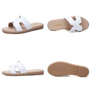 Image 5 - TKN sandals women slippers 2019 summer slip on flat slides sandals women leather suede slides ladies slippers flip flops 322