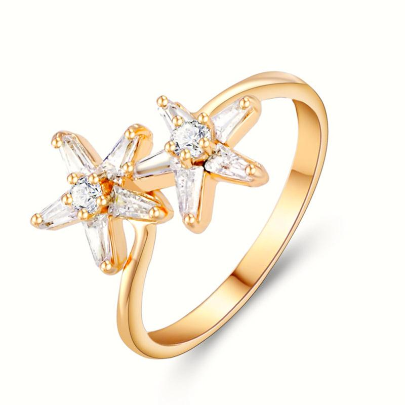 Lovely Starfish Shine Cross Crystal Rhinestone Finger Ring Women Gold Color Luxury Engagement Party Jewelry Gifts