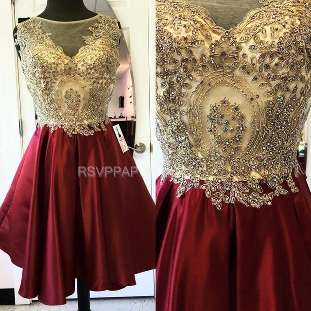 d07e8e34661 Luxury Short Homecoming Dress Sheer Through Sleeveless Satin Crystals Burgundy  A Line Scoop Neckline Homecoming Dresses