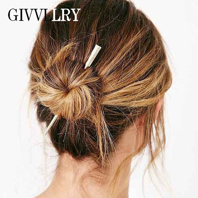 24a06f276 GIVVLLRY Geometric Metal Style Hair Sticks for Women Minimalist Gold Silver  Color Vintage Long Hair Accessories Fashion Jewelry