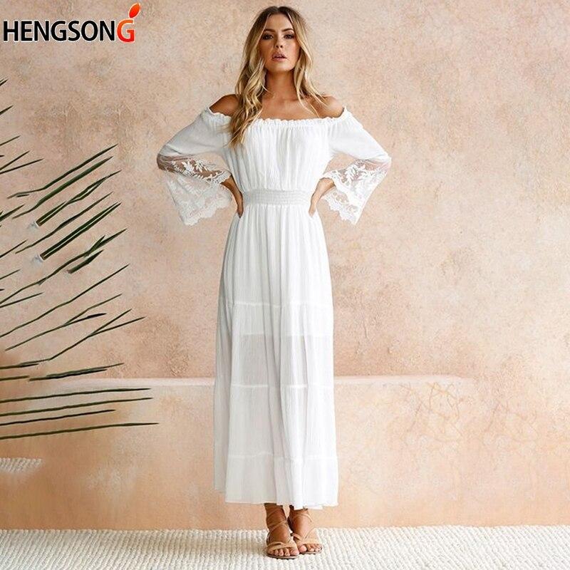HENGSONG Women White Beach Dress Strapless Long Sleeve Loose Sexy Off Shoulder Lace Boho Women Maxi Dress 718263