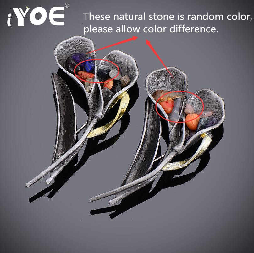 Iyoe Retro Warna Perak Antik Daun Bros untuk Wanita Alami Batu Fashion Double Bunga Bros Pin Perhiasan Hadiah Panas