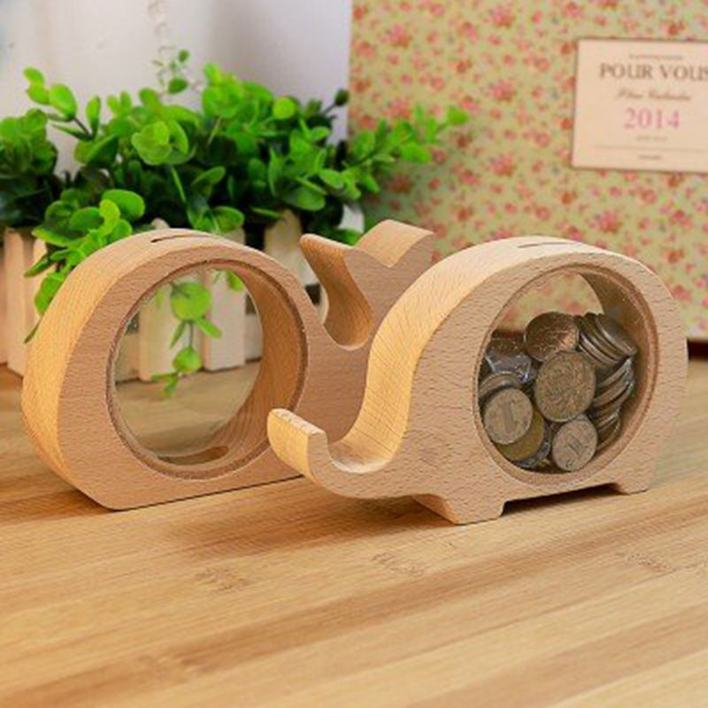 Solid Wood Money Boxes Design Cute Animal Cash Box Gadget Tray Gift For Kids Pig Hippo Whale Elephant Home Decor In Figurines Miniatures