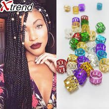Golden And Silver Mixed Hair Beads 100Pcs/lot Dreadlock Beads For Braids Micro Rings Adjustable Hair Braid Cuff Clip 8.5mm Hole(China)
