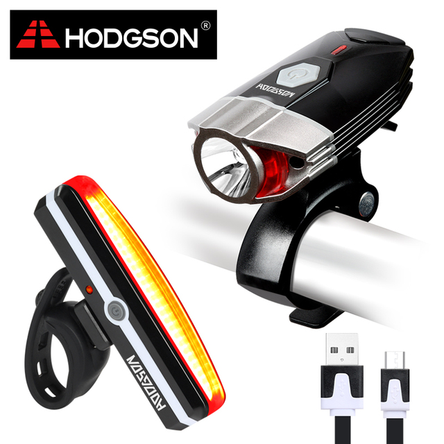 HODGSON USB Rechargeable LED Bike Light  Waterproof  Front Light  Tail Light Set  Bicycle Headlight Taillight Rear Lamp Set 8102