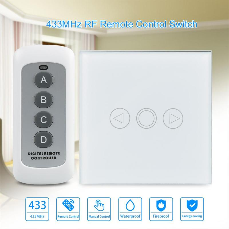 Smart home AC 220V 110V 433MHz Remote Control Touch Switch 3 Gang 1 Way Crystal Glass Panel Wireless Wall Light Switch H3 smart home luxury crystal glass 2 gang 1 way remote control wall light touch switch uk standard with remote controller