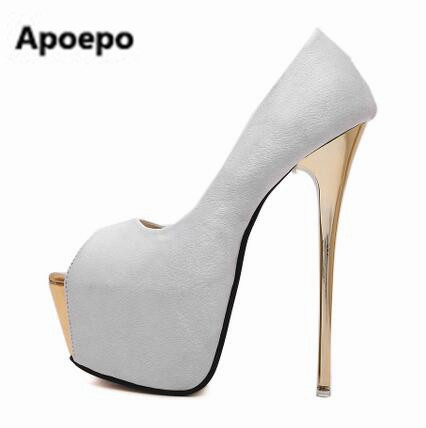 2017 white pink platform shoes sexy peep toe pumps 17 cm extreme high heels shoes shallow zapatos mujer tacon fashion pumps apoepo brand 2017 zapatos mujer black and red shoes women peep toe pumps sexy high heels shoes women s platform pumps size 43