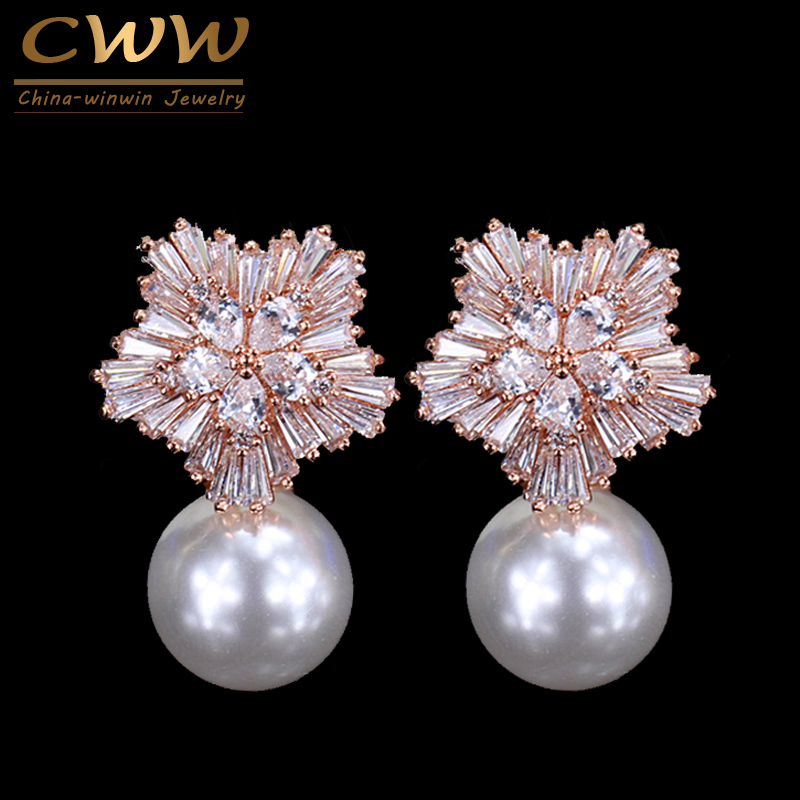 CWWZircons Brand Fashion Rose Gold Color Sparkling Large Cubic Zirconia Mujer Flor Pendientes grandes con perla CZ205