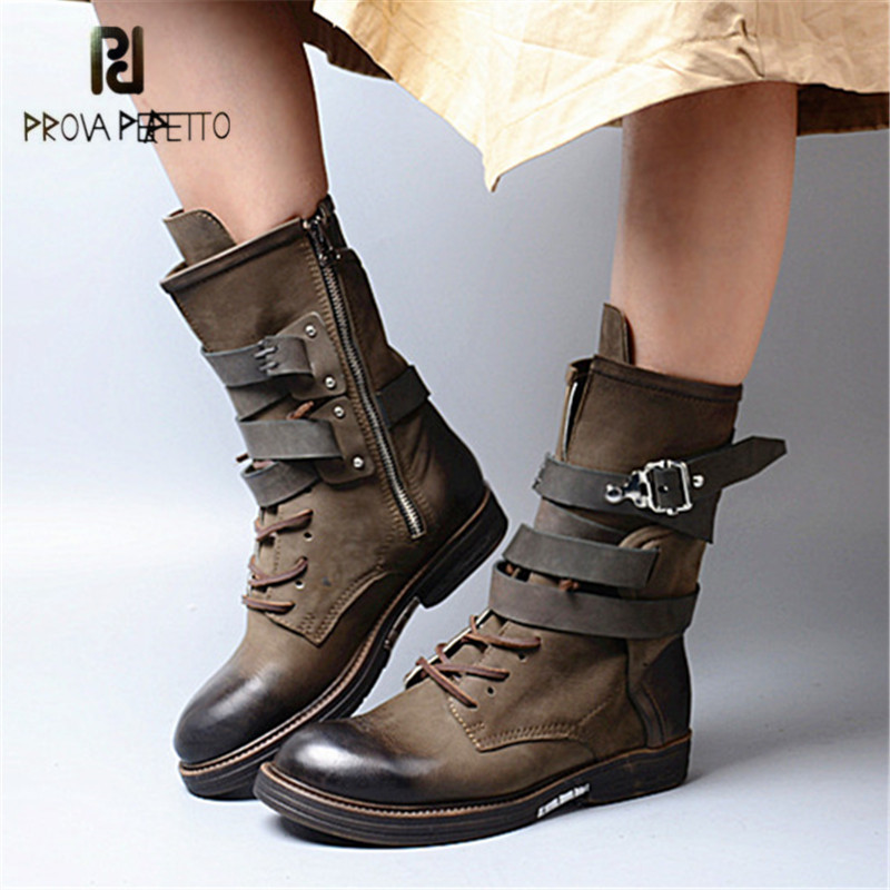Prova Perfetto Army Green Retro Buckles Women Boots Lace Up High Boots Female Round Toe Platform Rubber Boot for Winter prova perfetto horsehair ankle boots for women lace up platform flats comfortable creepers female flat rubber boot espadrilles