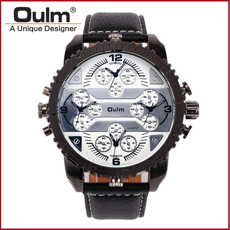 font b Oulm b font Brand 3233 Mens Big Face Watches 4 Time Zone Leather
