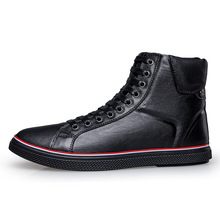 Full Grain Leather Man Winter Boots Plus Size 45 46 Men Casual Fur Flat Shoes Outdoor Ankle Boots