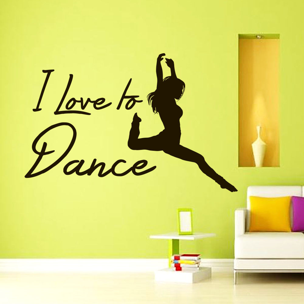 Free shipping DIY I love to Dance Quote Dancer Wall Decals Vinyl ...