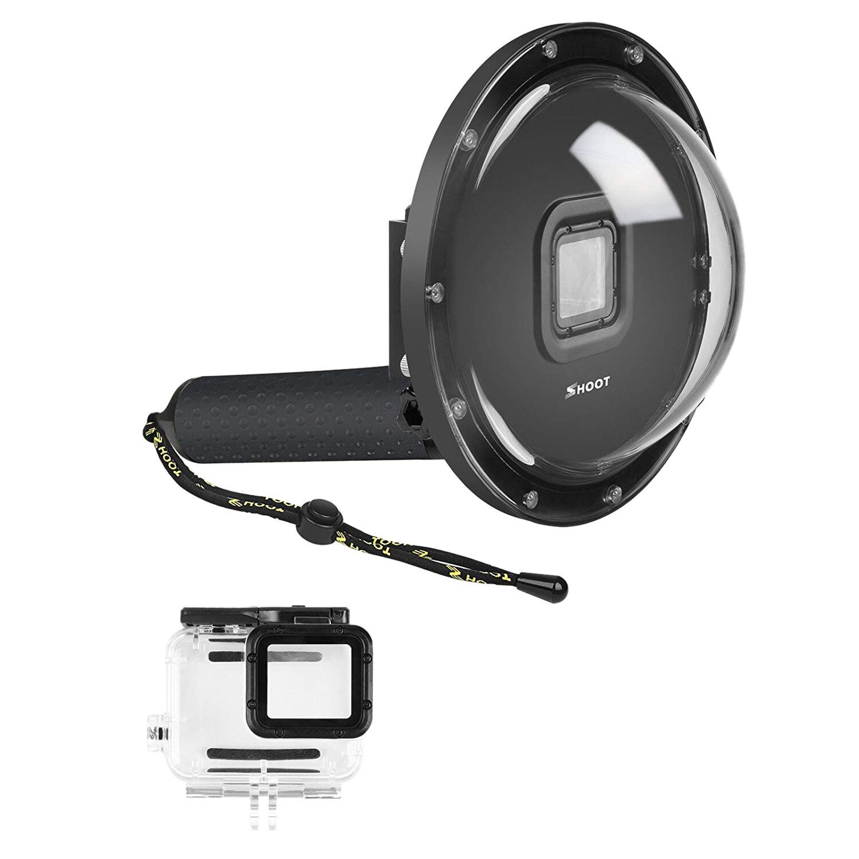 Port de dôme de prise de vue pour GoPro Hero 6/Hero 5/Hero (2018) caméra noire plongée sous-marine lentille transparente boîtier dôme avec Floa gris