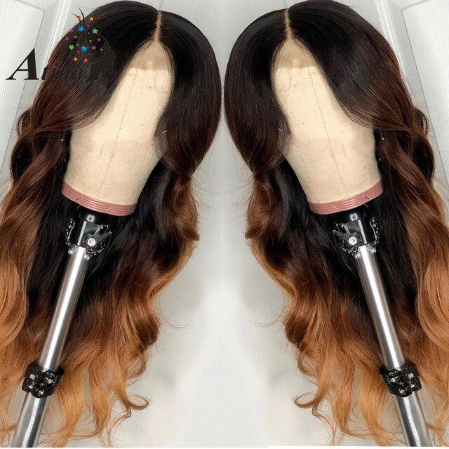 Color peluca ondulada 1B27 cariño Rubio Ombre brasileño Remy 130% de densidad Preplucked frente de encaje pelucas de cabello humano Cierre de encaje peluca