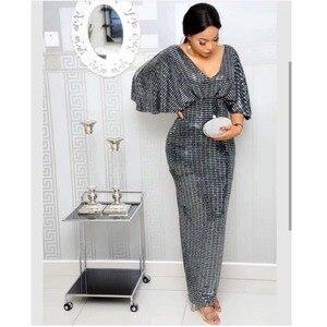 Image 4 - Zarif Payetli Akşam Elbise 2019 Kadın V Yaka Yarasa Kollu Kat Uzunluk Yüksek Bel Bodycon Maxi Elbise Yüksek Streç Partyclub