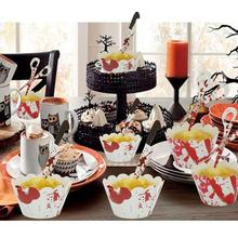 Halloween Cupcake Wrappers Flags Cake Toppers Halloween Party All Saints' Day Party Cake Decorating Supplies все цены