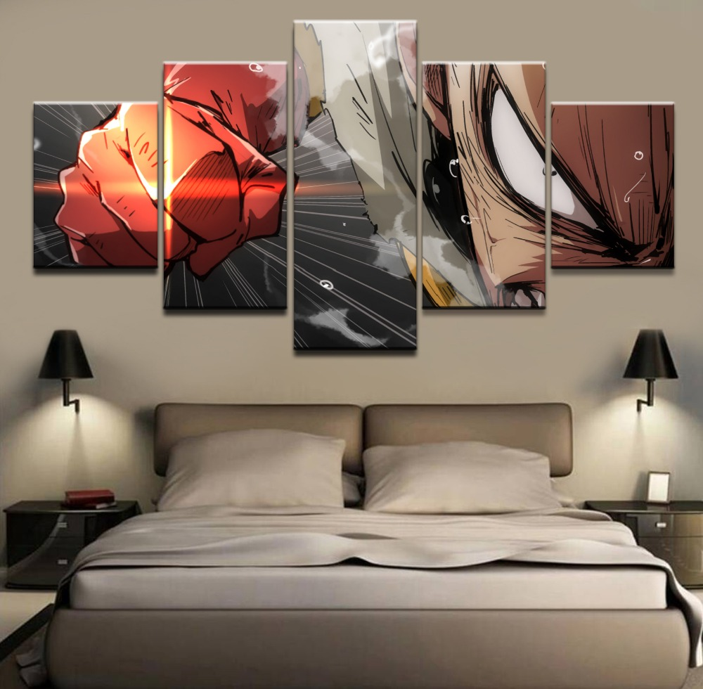Wall Art Pictures Canvas HD Printed Home Decorative Framework 5 Pieces Anime One Punch Man Poster