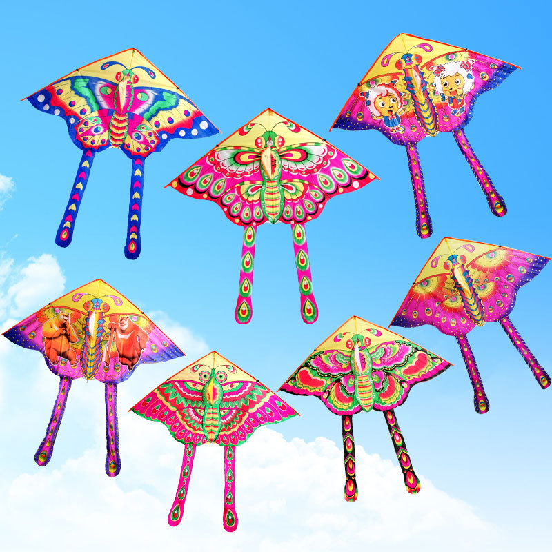 Outdoor Fun & Sports Cartoon Butterfly Kite Accessories without Handle Line Papalote Classic Toy Fly a Kite Flying Outdoor Toys