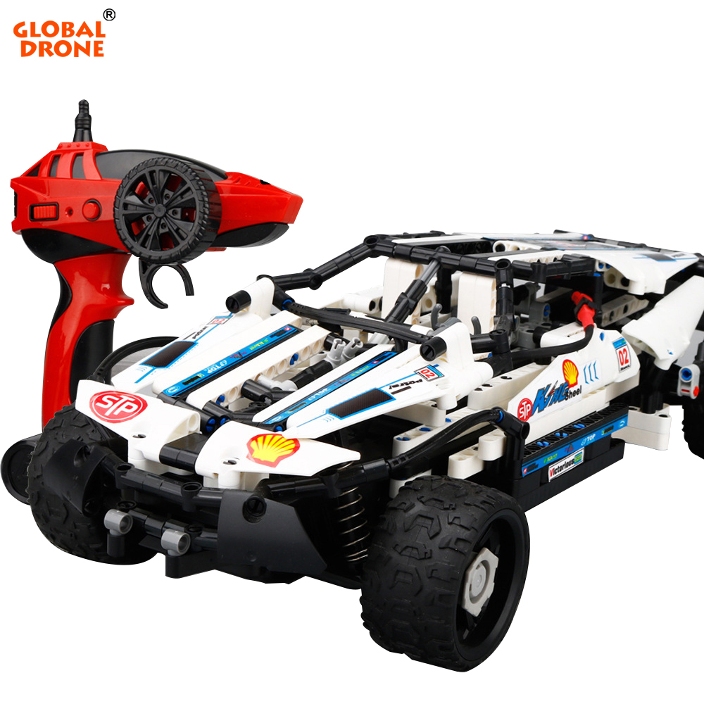 Global Drone Remote Control Car Vehicle Building Blocks Constructor Racing Cars Blocks Kit Playmobil Educational Toys For Boys 12dd building blocks assembled remote control car educational toys red black