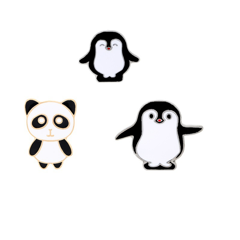 1 PC New Cute Cartoon Panda Penguins Drip Oil Brooch Pins Button Enamel Pins Clothes Decoration Wholesale Jewelry For Women