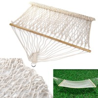 OUTAD 2018 2 People Portable Hammock 59 Cotton Double Wide Solid Wood Spreader Outdoor Camping Hiking