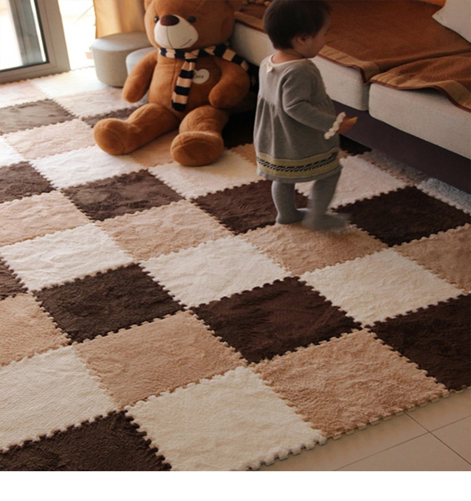 10 Pcs/Lot Soft Plush Children's Rug Baby Play Mat Toys Eva Foam Kids Rug Puzzle Children's Mat Interlock Floor Playmat 30*30 CM