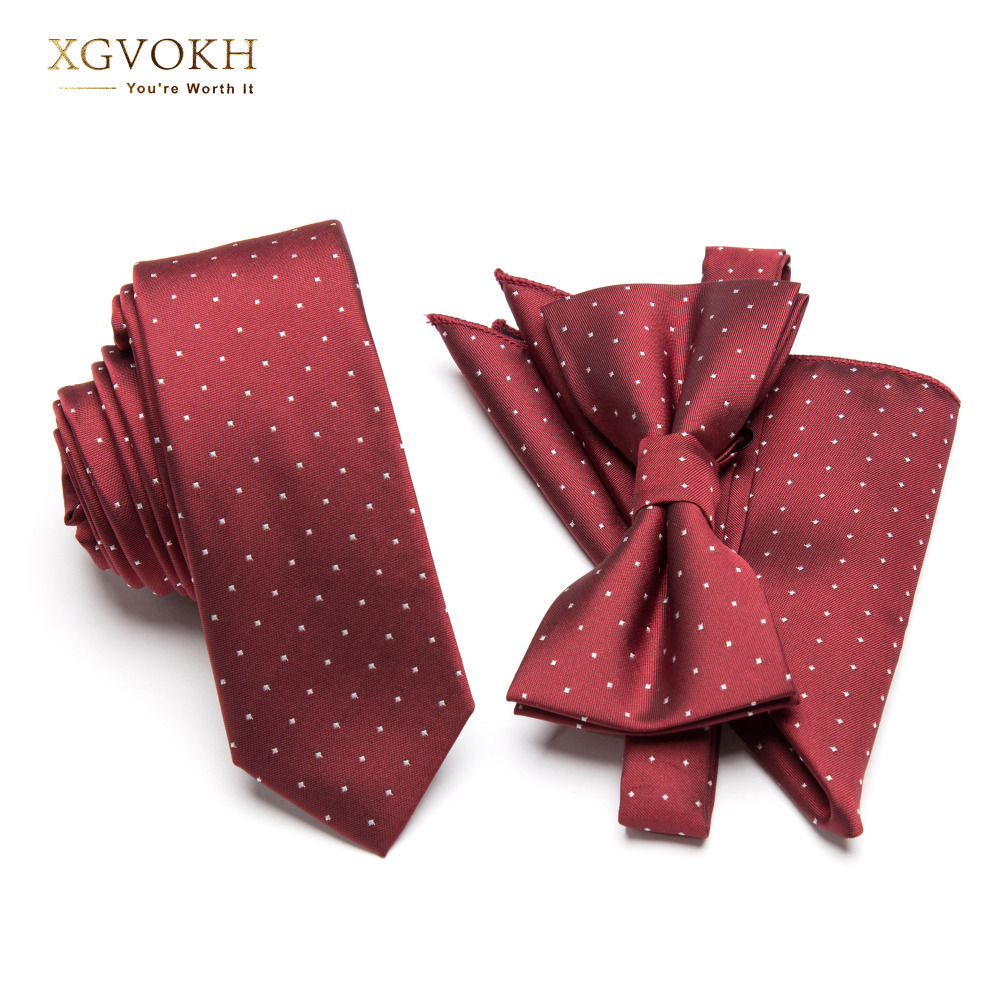 Men Neck Tie Set Bowtie Cravat Red Wine Dot Fashion Classical Slim Skinny Polyester Ties Narrow Wedding Party Business Necktie