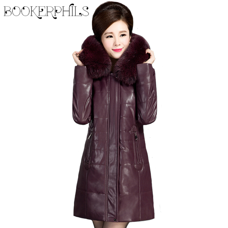 Middle aged Women Leather Jacket Cotton Coat Winter Autumn Fur Collar Plus size 6XL Warm Long Parkas Thick Hooded Down Jacket