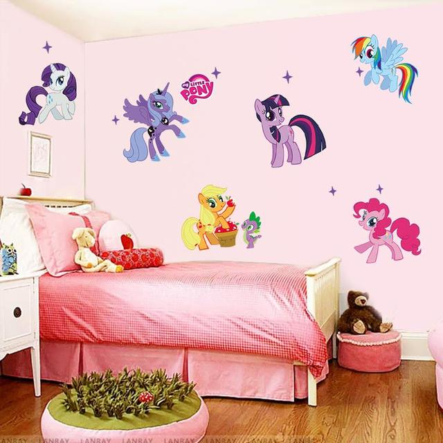 My Little Pony Cartoon Wall Stickers For Kids Rooms Home Decoration DIY PVC  Animal TV Decal