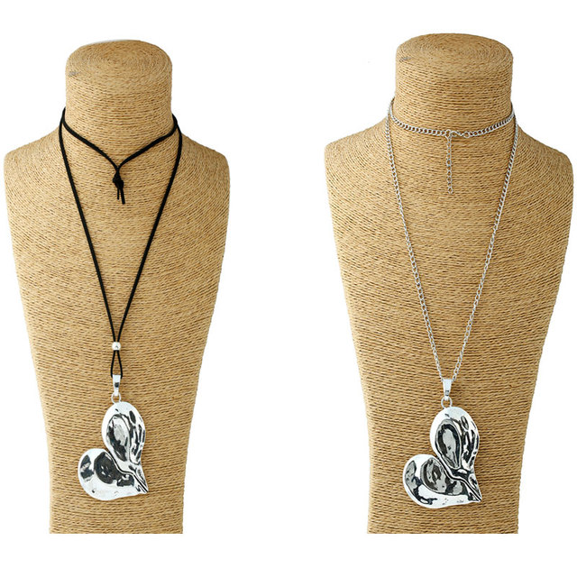 1 Pcs Lagenlook Necklace Antique sliver Tone Statement Abstract Metal Large Heart Pendant Long Curb Leather/Link Chain Necklaces 1