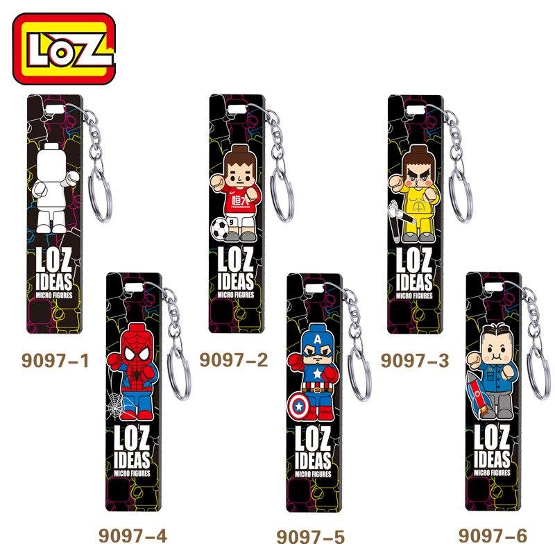 6pcs/lot LOZ Building Blocks Key Chain Marvel Avenger Super Hero Spiderman Captain American Block DIY Children Educational Toys loz abs cartoon hero style building block