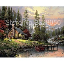 Buy Coniferous Forest Wooden House Landscape Drawing online