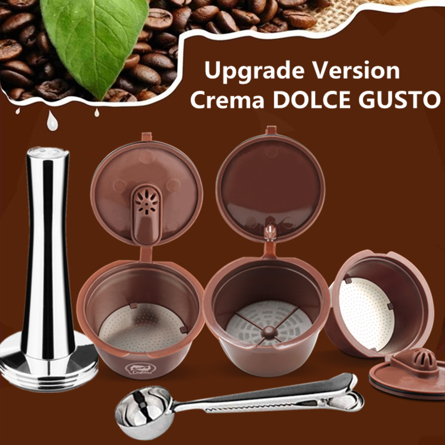 Crema Coffee Capsule Filter Upgrade 3rd Generation Two-type Dolce Gusto Refillable Reusable Coffee Cup Baskets 41mm TamperCrema Coffee Capsule Filter Upgrade 3rd Generation Two-type Dolce Gusto Refillable Reusable Coffee Cup Baskets 41mm Tamper