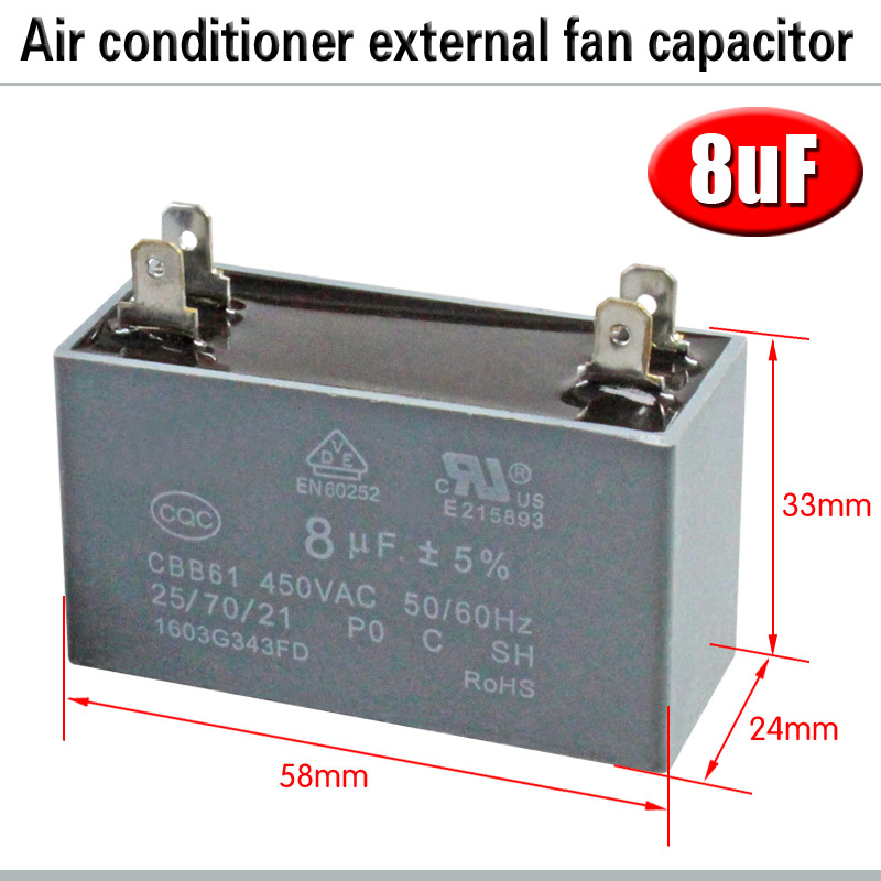 CBB61 кондиционер наружный вентилятор стартовый конденсатор с алюминиевой крышкой, 1,5/2/2,5/3/3,5/4/5/6/8 мкФ 450 вольтным и конденсатор с алюминиевой крышкой 4 вставки электромагнитный пускатель - Цвет: 8uF