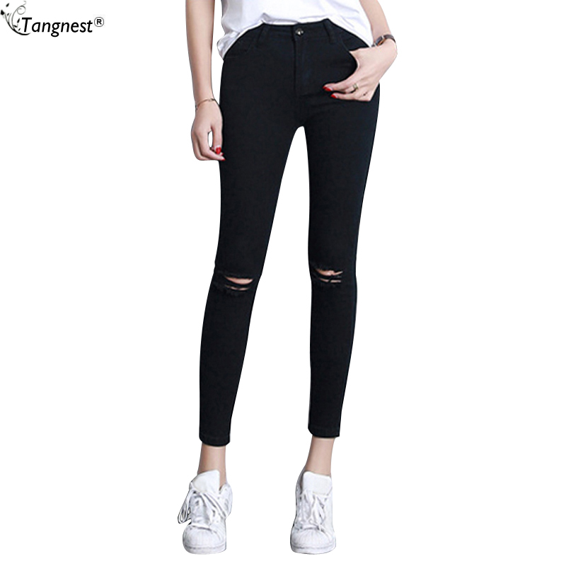 30b0fc2f59 TANGNEST Black Jeans Pants For Women 2017 Youth Students Slim Fit Ripped  Denim Trousers Skinny Distressed Legging Pants WKN378-in Jeans from Women's  ...