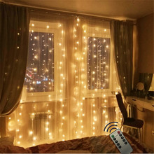 Remote 2x2M 180LED Bulb Home Outdoor Holiday Christmas Decorative Wedding Lustre String Fairy Curtain Garlands Strip Party Light ac220v 6x3m 600led home outdoor holiday christmas decorative wedding xmas string fairy curtain garlands strip party lights