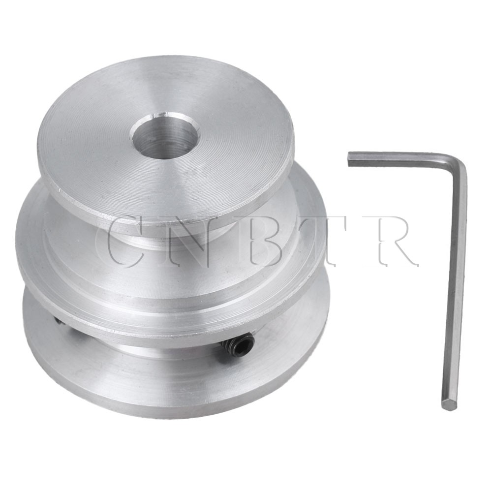 CNBTR Silver Aluminum 2-Step Groove Fixed Bore Pulley 40x30x8MM for Round Belt CNBTR Silver Aluminum 2-Step Groove Fixed Bore Pulley 40x30x8MM for Round Belt