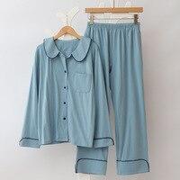 Autumn New Woman Simple Japan Shirt & Pants Pj Set 2018 Spring Summer Blue Sweet Nightwear Women Long Sleeve Casual Pajama Set