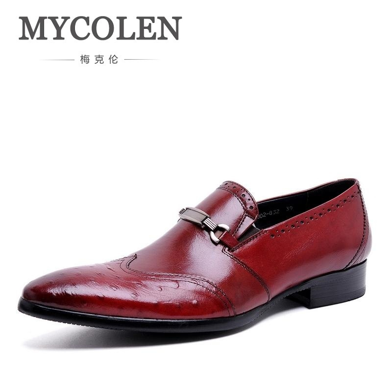 MYCOLEN Italian Fashion Men Black Dress Shoes Men Genuine Leather Slip On Formal Suit Footwear 2018 Wedding Office Man Flats 2015 italian luxury alligator fashion mens dress shoes genuine leather with buckle black flats for man wedding party office 979