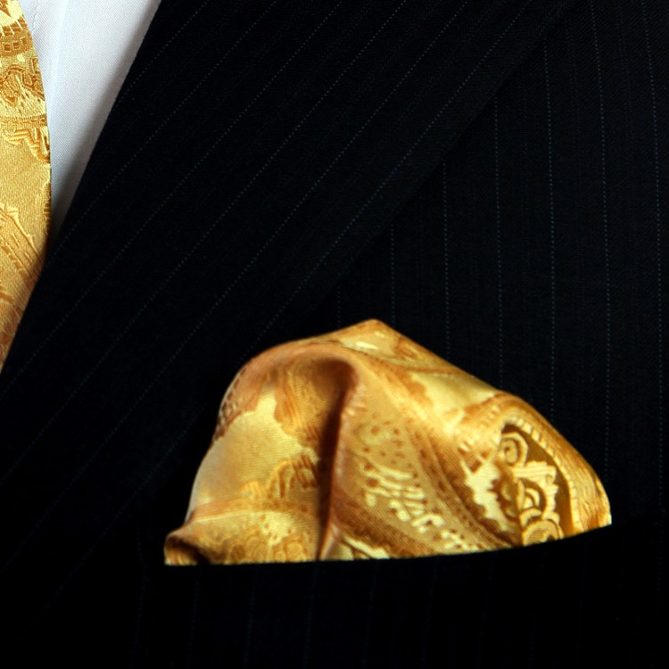 HTB1vnqiJFXXXXbxXXXXq6xXFXXX5 - Gold Silk Paisley Pattern Pocket Square