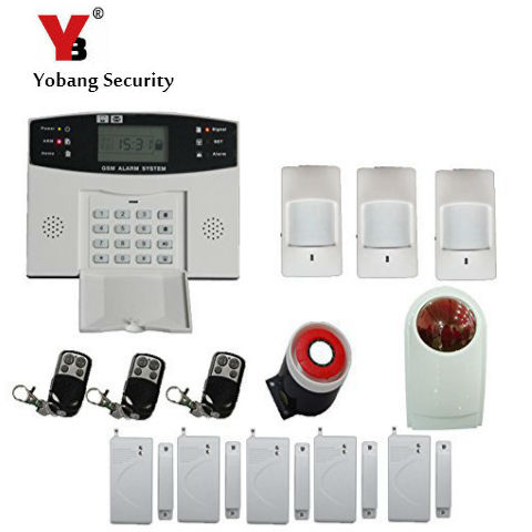 YobangSecurity Keyboard 433MHz Wireless GSM House Alarm System Spanish Russian Italian Cezch Voice Prompt Strobe Siren Outdoor yobangsecurity wireless gsm home alarm system door alarm sensor pir detector wireless strobe siren spanish russian cezch voice