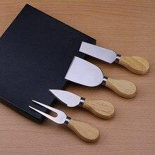 4 шт.) набор ножей для сыра с деревянной ручкой нож для резки сыра вилка ложка-нож полезные инструменты для приготовления пищи в черной коробке