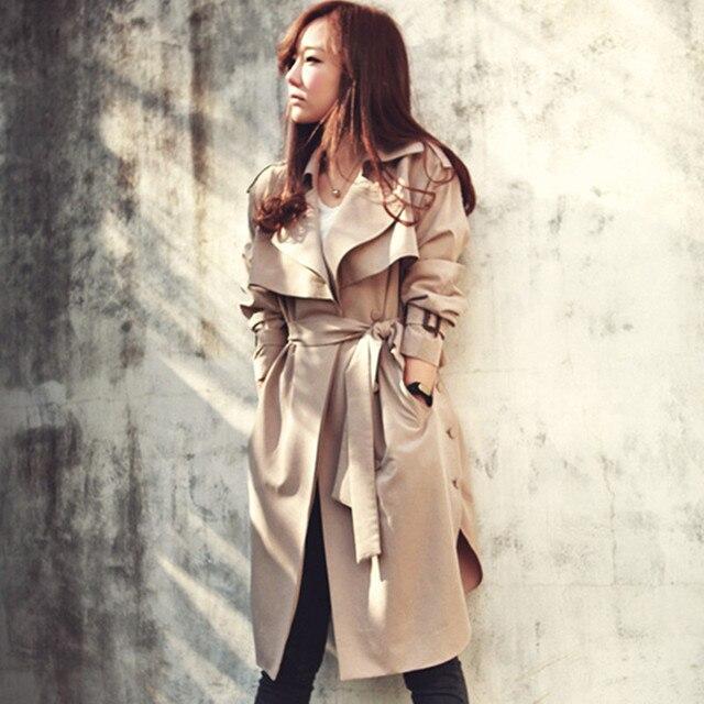 Плюс Размеры 2018 Новинка весны Тренч для Для женщин модные женские туфли плащ с поясом тонкая верхняя одежда Для женщин пальто Одежда высшего качества TR047