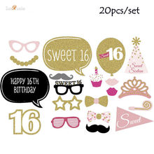 20Pcs Sweet 16th Birthday Photo Booth Props Decoration Photobooth Event Party Supplies Photocall Decorations