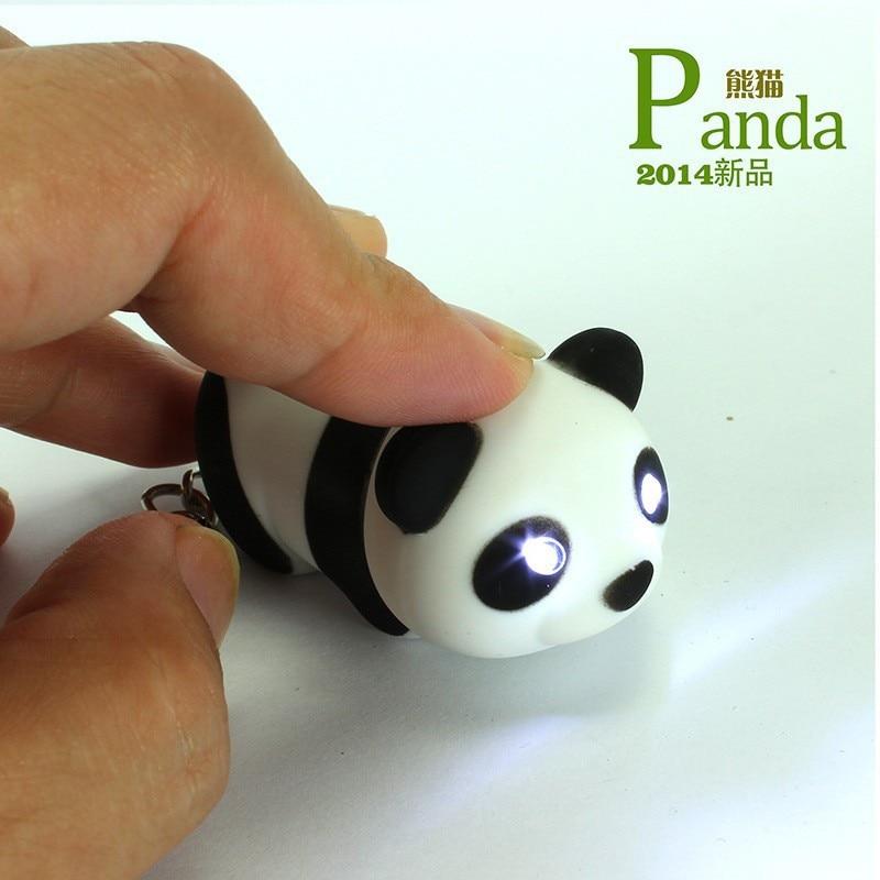 Flashlight Panda Keychain Cute Led Keychains With Sound Keyrings Mini Keychain Child Gift Free Shipping