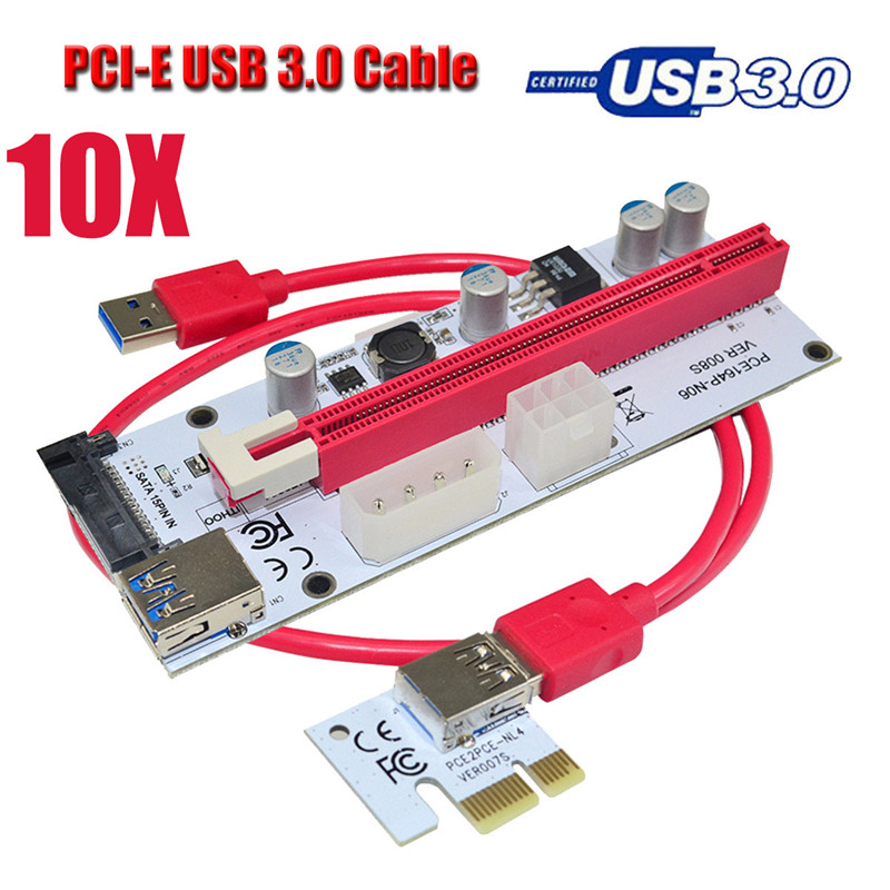 10psc PCI-E Extender PCI Express Card 1x to 16x 60cm Usb 3.0 6Pin Power Supply Cable For 8 GPU Graphics Cards Bitcoin Miner 50cm pci e pci e express 1x to 16x graphics card riser card usb 3 0 extender cable with power supply for bitcoin litecoin miner
